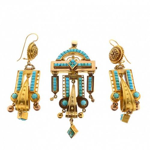 Victorian  Etruscan Revival 14K Gold & Turquoise Earrings & Pendant