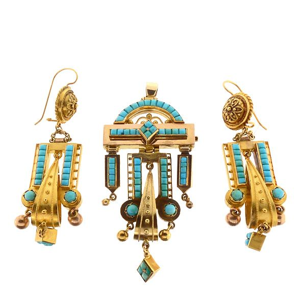 Victorian  Etruscan Revival 14K Gold & Turquoise Earrings & Pendant