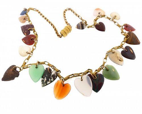 Georgian 18K Gold & Carved Hardstone Heart Necklace