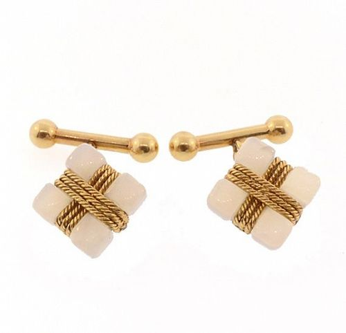 French 18K Gold & White Jasper Chalcedony Cufflinks