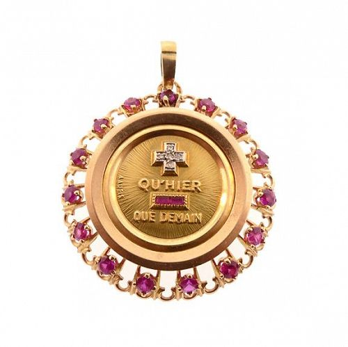 A. Augis 18K Gold & Ruby PLUS QU�HIER Love Token Pendant