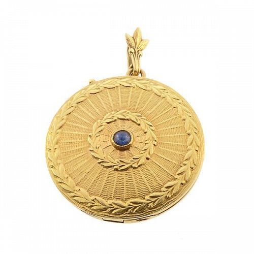 Belle Epoque 18K Yellow Gold & Blue Sapphire Engine-Turned Locket