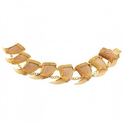 Victorian Indian Raj 20K Gold Filigree & Tiger�s Claw Bracelet