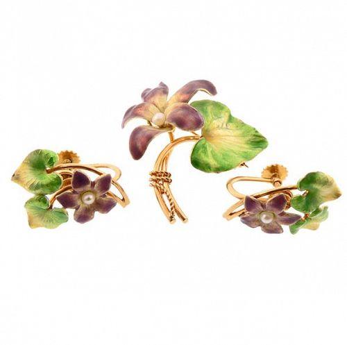Krementz Art Nouveau 14K Enamel Pearl Violet Pin & Earrings