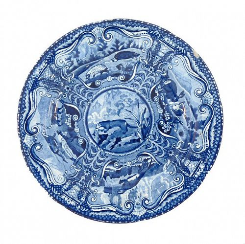 John Hall Staffordshire Transferware Quadrupeds River Otter Plate