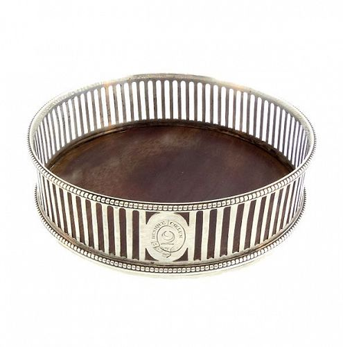 Sterling Silver & Mahogany Melville Family Wine Coaster