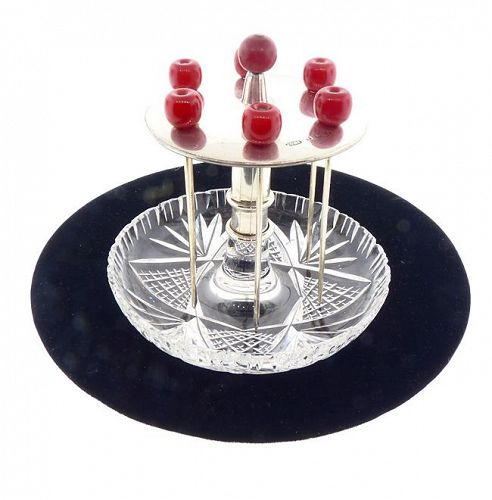 Art Deco English Sterling Silver Bakelite Cut Glass Cocktail Pick Set