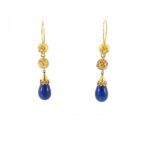 Victorian Etruscan Revival 15K Gold & Lapis Lazuli Pendant Earrings