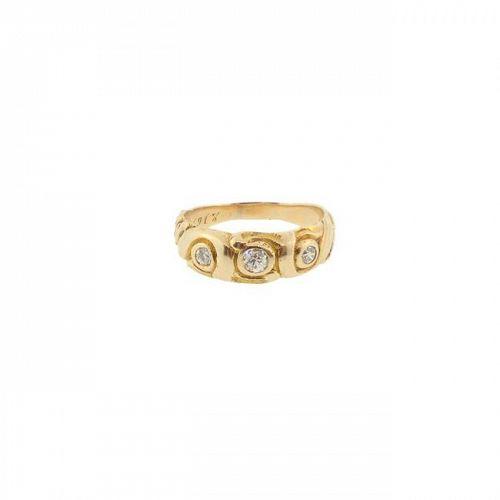 Art Nouveau 14K Gold & Diamond Gentleman's Wedding Band