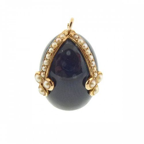 Victorian 14K Gold, Pearl & Onyx Egg Pendant