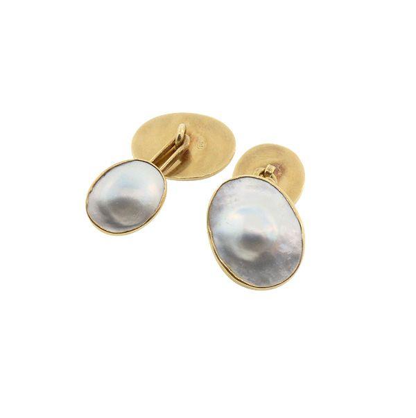Edwardian Carrington 14K Gold & Blister Pearl Cufflinks