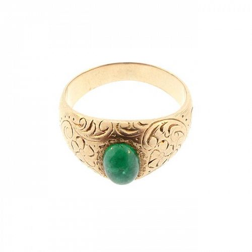 Victorian 14K Gold & Cabochon Emerald Floral-Engraved Gypsy Ring