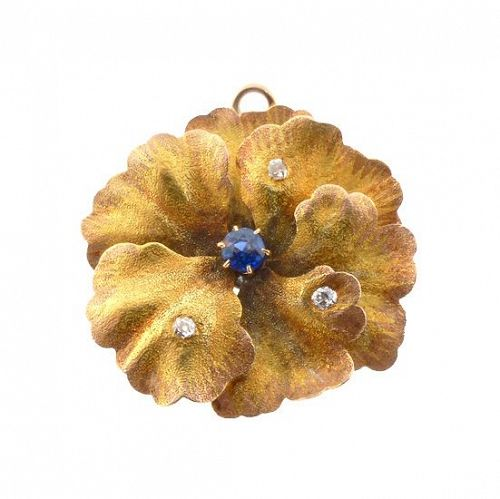 Art Nouveau Multicolored Gold Diamond Sapphire Pansy Pendant / Pin