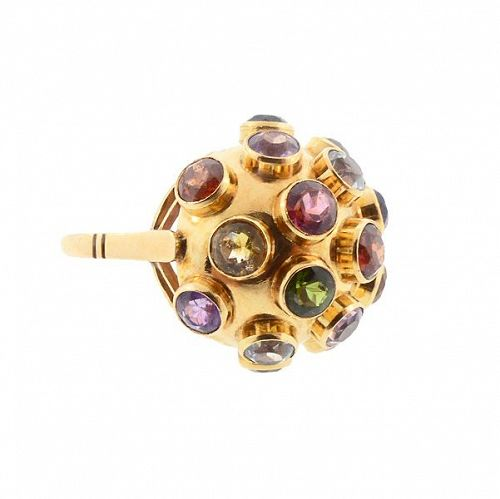 H Stern 18K Gold Multicolored Gemstone Sputnik Ring