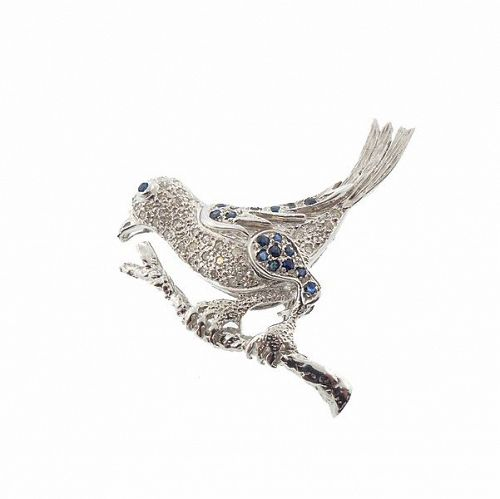 Vintage Samuel B 14K White Gold, Diamond & Sapphire Bird Pin