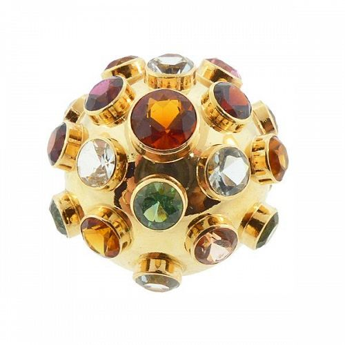 Extra-Large H Stern 18K Gold Multicolored Gemstone Sputnik Ring