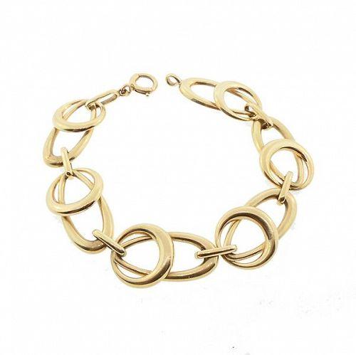 Modernist 14K Gold Round & Oval Link Bracelet