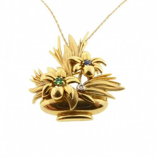 Retro 18K Gold, DIamond, Emerald & Sapphire Flower Basket Pendant