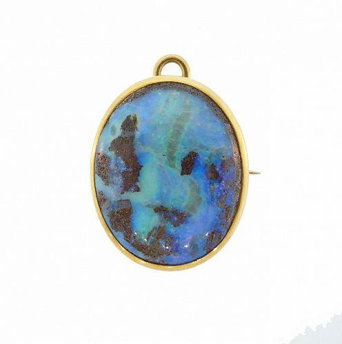 Victorian 15K Gold & Boulder Opal Pendant