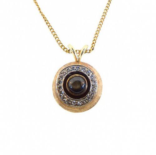 Mid-Century Modern 14K Gold, Diamond & Black Star Sapphire Pendant