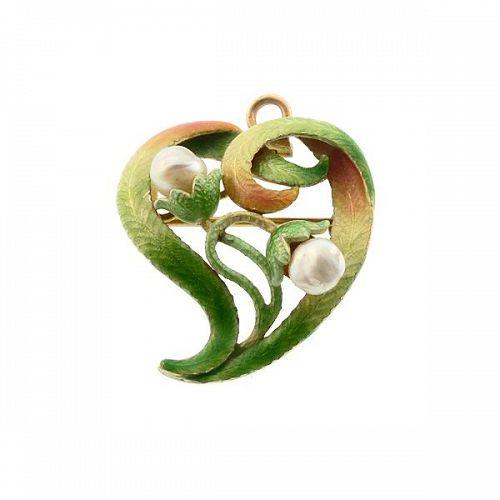 A.J. Hedges Art Noveau 14K Enamel & Pearl Witch's Heart Pendant