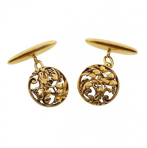 French Art Nouveau 18K Yellow Gold Grapevine Cufflinks