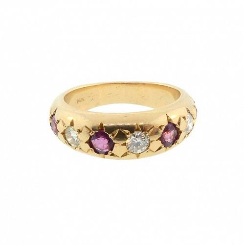 14K Gold, Diamond & Ruby Gypsy Ring