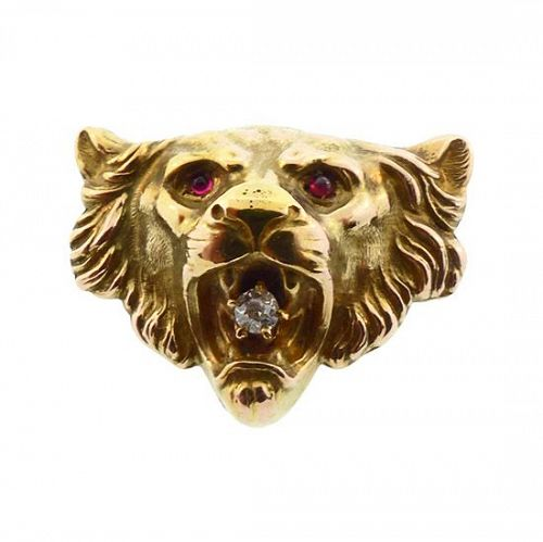 Victorian 14K Gold, Diamond & Ruby Lion�s Head Brooch