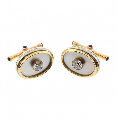 14K Gold, Diamond, Mother-of-Pearl & Garnet Cufflinks