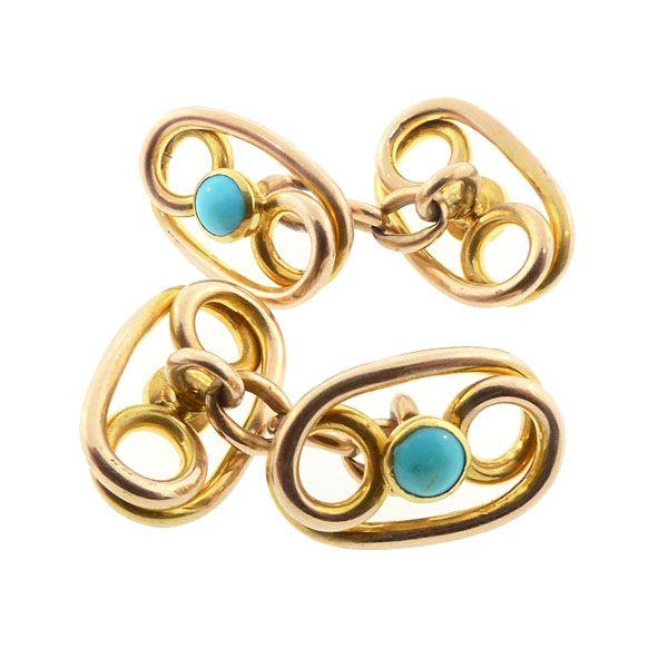 Victorian 14K Yellow Gold & Turquoise Cufflinks