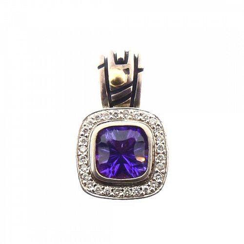 John Atencio 18K Gold Silver Amethyst Diamond Pendant