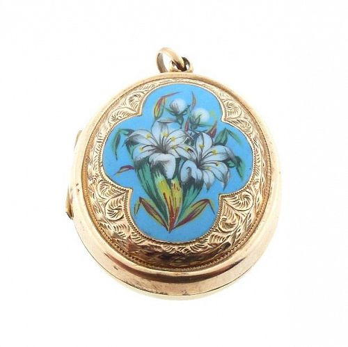Victorian 10K Gold & Enamel Lily Locket