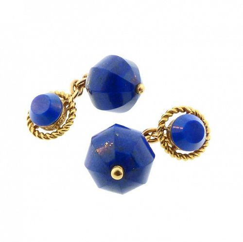 18K Gold & Carved Lapis Lazuli Cufflinks
