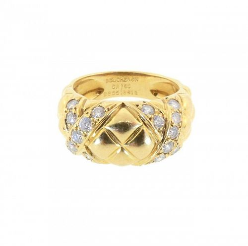 Boucheron 18K Gold & Diamond Matelassé Ring