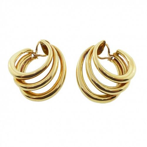 Tiffany & Co. 18K Gold Triple Hoop Earrings