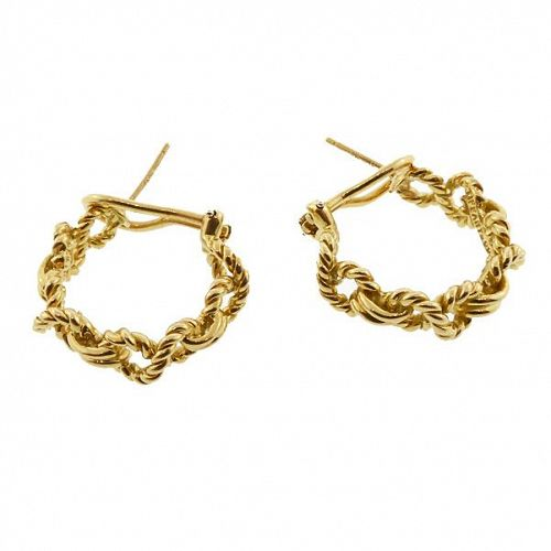 Tiffany & Co. 18K Gold Brainded Hoop Earrings