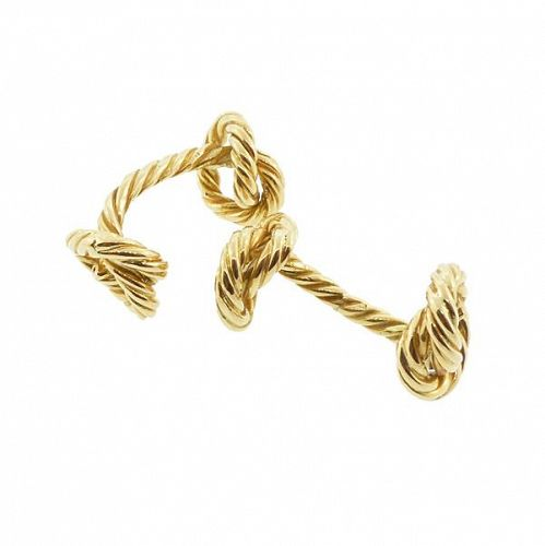 Vintage French 18K Gold Double-Sided Knot Cufflinks