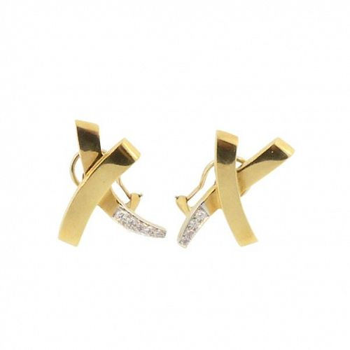 Tiffany Paloma Picasso 18K Gold Platinum Diamond X Earrings