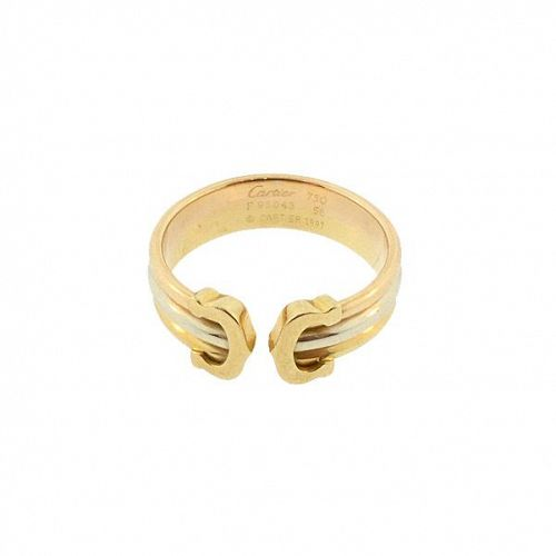 Cartier 18K Tri-Color Gold DOUBLE C Logo Ring