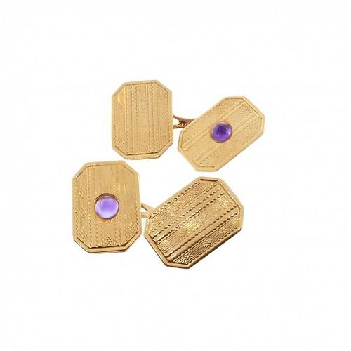 Edwardian 14K Gold & Amethyst Cufflinks