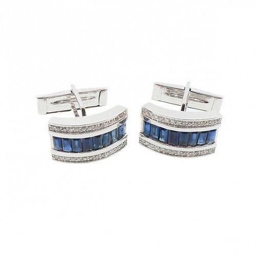 14K White Gold, Diamond & Sapphire Cufflinks