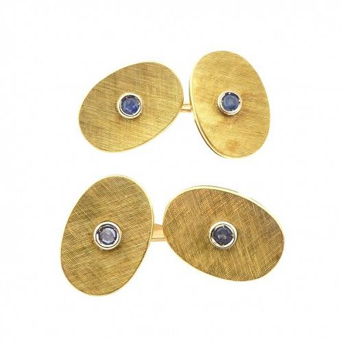 Vintage Mid-Century 18K Gold & Sapphire Cufflinks