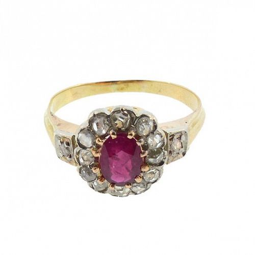 Victorian 18K Gold, Ruby & Diamond Ring