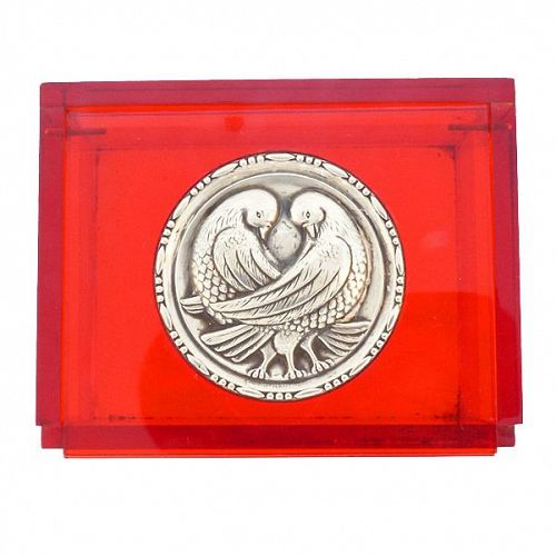 Art Deco Red Lucite & Sterling Silver Lovebirds Jewelry Box