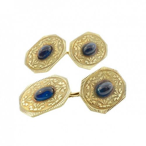 Edwardian 14K Gold & Sapphire Cufflinks by Wordley Allsopp & Bliss