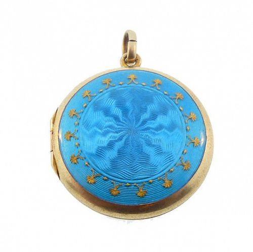 Turquoise Blue Guilloche Enamel Gilt Silver Edwardian Locket
