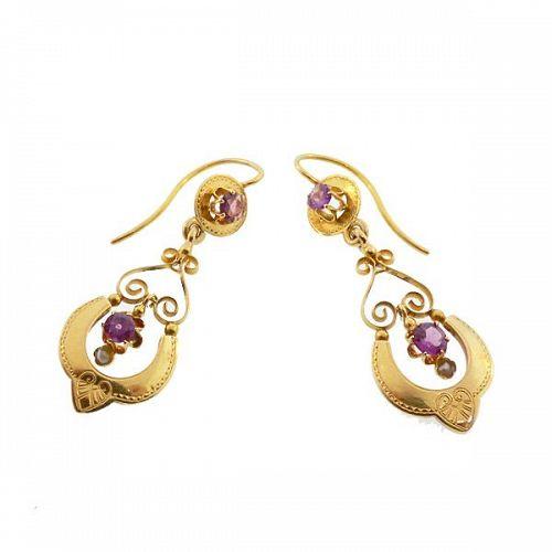 Victorian 18K Gold, Ruby & Pearl Earrings