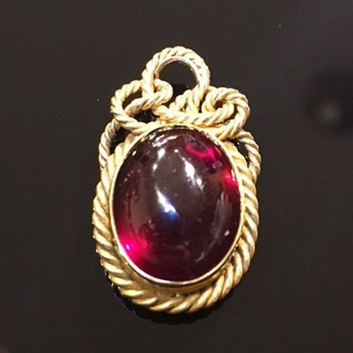 Victorian 15K Gold & Garnet Cabochon Hair Lover's Knot Locket