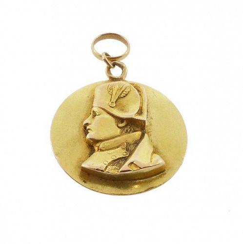 French 18K Gold Emperor Napoleon I Medallion Pendant Charm