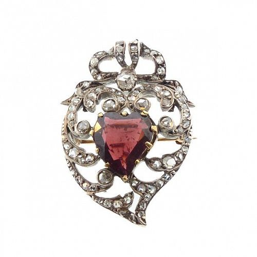 Victorian Gold, Silver, Garnet & Diamond Witch's Heart Brooch Pendant
